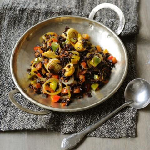 paella au riz noir et au safran